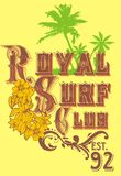 Royal surf club. Tropical beach and surf breaks in the arms of a written description graph vector illustration