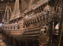 Royal Swedish Flagship - Vasa. Wide angle view of the Royal Swedish Flagship - Vasa. This is the only 17th century ship which is still intact Royalty Free Stock Photography