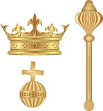 Royal. Symbols - crown; scepter; orb Royalty Free Stock Photos