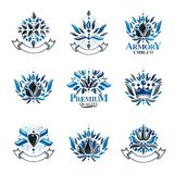 Royal symbols, Flowers, floral and crowns, emblems set. Heraldic vector design elements collection. Retro style label, heraldry royalty free illustration