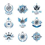 Royal symbols, Flowers, floral and crowns, emblems set. Heraldic vector design elements collection. Retro style label, heraldry stock illustration
