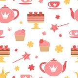 Royal tea party. A cute royal tea party seamless pattern vector illustration