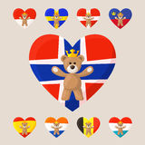 Royal Teddy Bears. Teddy Bear with crown and heart with flag on the background. Norway, Sweden, Denmark, Liechtenstein, Spain, Monaco, Belgium, Netherlands Royalty Free Stock Photography