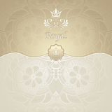 Royal template background with crown Zen-tangle pattern in gold beige Stock Images