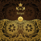 Royal template background with crown Zen-tangle pattern in gold brown Royalty Free Stock Photos