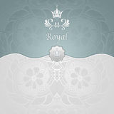 Royal template background with crown Zen-tangle pattern in silver blue Royalty Free Stock Image