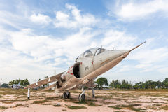 The Royal Thai Navy Airforce Av - 8 airplane are in area of open air museum of The Royal Thai Navy, Thailand Royalty Free Stock Image