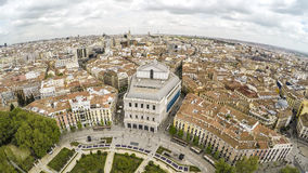 Royal Theater, Opera Madrid. MADRID, SPAIN - APRIL 14,2015: Tourists near Royal palace. Royal palace in Madrid (Palacio Real de Madrid), differently East palace royalty free stock photo