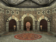Royal throne chamber. 3d CG render of a luxury decorated royal throne chamber royalty free illustration