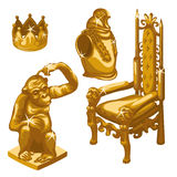 Royal throne, Golden monkey and breastplate Royalty Free Stock Images