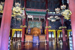 Royal throne in Injeongjeon (main hall) of Changdeokgung Palace in Seoul Royalty Free Stock Photos