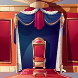 Royal throne in medieval castle cartoon vector. Golden kings throne inlaid with gems, ottoman and pillow on seat, standing on pedestal in ballroom or castle stock illustration
