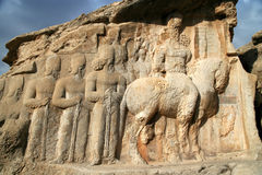 Royal Tomb. Sculptures at Royal Tomb near Persepolis in Iran Royalty Free Stock Images