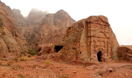 Royal Tomb in the lost rock city of Petra, Jordan. Petra's temples, tombs, theaters and other buildings are scattered over 400 square miles. UNESCO world royalty free stock photography