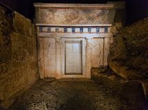 Royal tomb of Phillip II 359-336 BC. In 1977 the excavations of M.. Andronikos unearthed the royal tombs of the Great Tumulus, among which the most important was royalty free stock photos