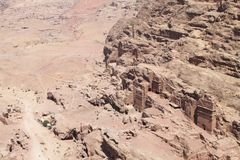 Royal tombs from above at Petra Stock Photography