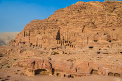 Royal tombs in nabatean city of  petra jordan Royalty Free Stock Photo