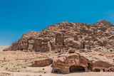 Royal tombs in nabatean city of  petra jordan Stock Photos