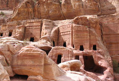 Royal Tombs in Petra Stock Photos