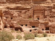 Royal Tombs, Petra, Jordan. Funerary chambers, burial places, carved into sandstone cliff, Royal Tombs, Urn Tomb, Rose City, Petra, Jordan Royalty Free Stock Image
