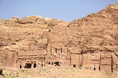Royal Tombs in Petra, Jordan Royalty Free Stock Photo