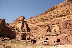 Royal Tombs in Petra, Jordan Royalty Free Stock Images