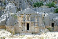 Royal tombs and rock in Myra, Turkey Stock Images