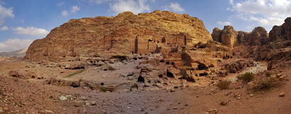 Royal Tombs and Street of Facades in Petra Stock Image