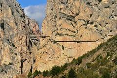 Royal Trail (El Caminito del Rey) in gorge Chorro, Malaga province, Spain Stock Photography