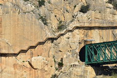 Royal Trail (El Caminito del Rey) in gorge Chorro, Malaga province, Spain Stock Images