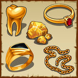 Royal treasure of gold, jewelry and tooth royalty free illustration