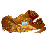 Royal treasures and jewels buried in sand. Vector composition on white background Stock Images