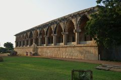 The Royal Treasury building at the Zenana Enclosure, Hampi, Karnataka, India. The Royal Treasury Building is a rectangular structure that is located in the north Stock Photos