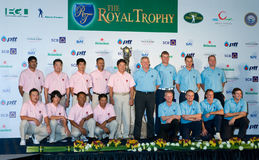 The Royal Trophy Golf Tournament, Asia vs. Europe. BANGKOK, THAILAND - JANUARY 6: The two Royal Trophy golf teams lined up at the press conference in Bangkok Royalty Free Stock Photography