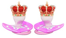 Royal twins concept. Two pink pacifiers with golden crown. 3D rendering stock illustration
