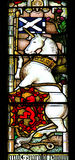 Royal unicorn, Colourful seamless stained glass window panel in Royalty Free Stock Photos