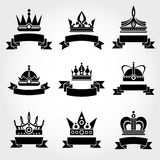 Royal vector crowns and ribbons logo templates set in black Royalty Free Stock Photography