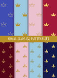 Royal vector seamless pattern set. Crowns and lily Royalty Free Stock Image