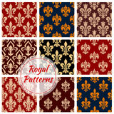 Royal vector seamless patterns set Stock Images