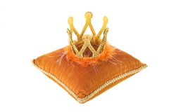 Royal velvet pillow with crown stock photos