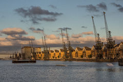 Royal Victoria Dock, London. Houses and a historic loading crane beside Royal Victoria Dock in the London Docklands Stock Photography