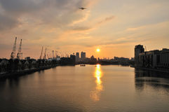 Royal Victoria Dock, London UK at sunset Royalty Free Stock Images