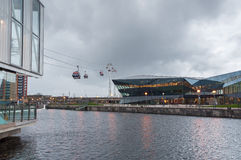 Royal Victoria Docks cable car station on a rainy day. Royalty Free Stock Photo
