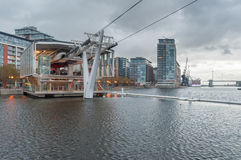 Royal Victoria Docks cable car station on a rainy day. Stock Images