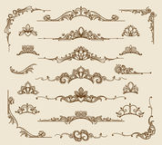 Royal victorian filigree design elements. Vector retro queen flourish swirls and antique calligraphy borders Royalty Free Stock Photos