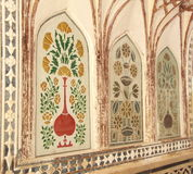 Royal wall paintings In Amber Fort. Royalty Free Stock Photos