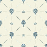 Royal wallpaper seamless pattern with crown and decorative elements. Luxury background Royalty Free Stock Photography