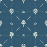 Royal wallpaper seamless pattern with crown and decorative elements. Luxury background Stock Image