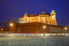 The Royal Wawel Castle in Krakow at night. Poland Royalty Free Stock Image