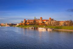 The Royal Wawel Castle in Krakow at Vistula river. Poland Stock Photos